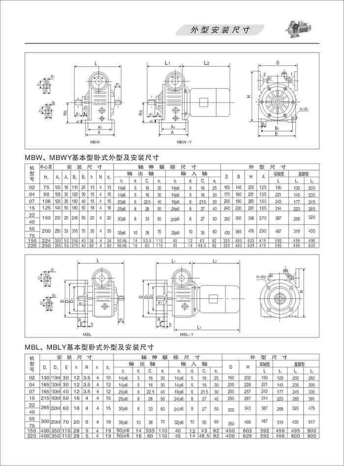 MBW、MBWY无级变速机基本型卧式外形安装尺寸,MBL、MBLY基本型立式安装尺寸