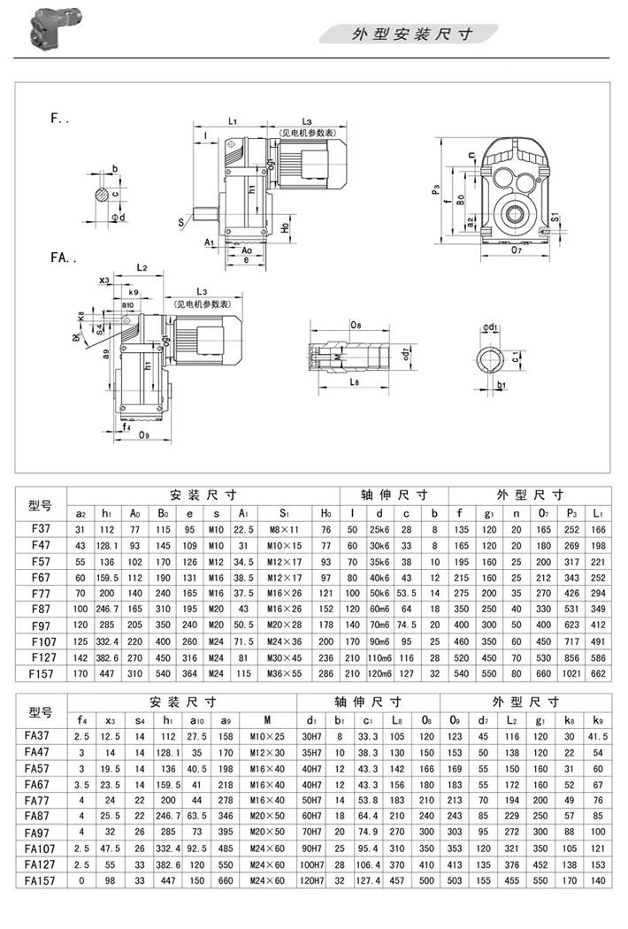 F平行轴斜齿轮减速机…(轴伸式)、FA…(轴装式)外型安装尺寸