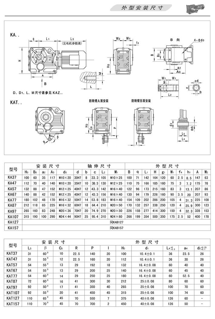 KA螺旋锥齿轮减速机…(轴装式)、KAT(轴装式扭力臂安装)外型安装尺寸