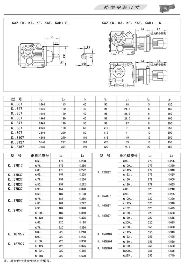 KAZ螺旋锥齿轮减速机(K、KF、KA、KAF、KAB)S…(轴输入型)外型安装尺寸