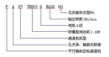 F平行轴斜齿轮减速机型号表示方法