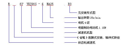 R同轴式斜齿轮减速机形号表示方法
